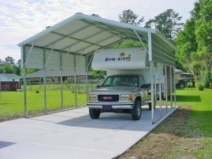 single carport with truck