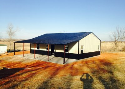 welded steel building with blue roof