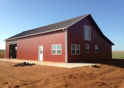 red slope welded steel building