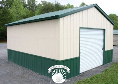 small white and green custom garage