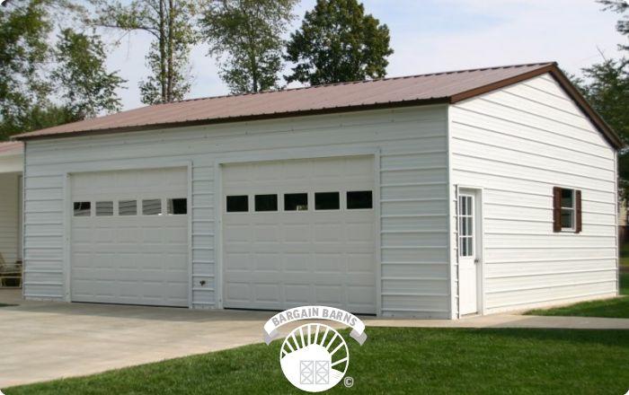 custom white double garage