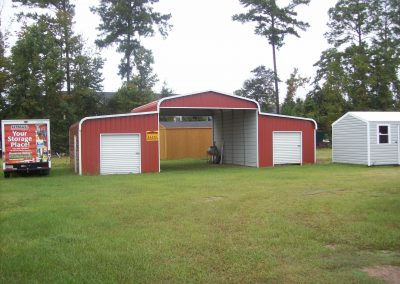 Red Metal Horse Barn